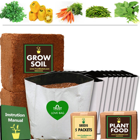 TrustBasket Economy Super Saver Grow Kit (Methi, Capsicum Yellow, Carrot, Green Chilli, Amaranthus)