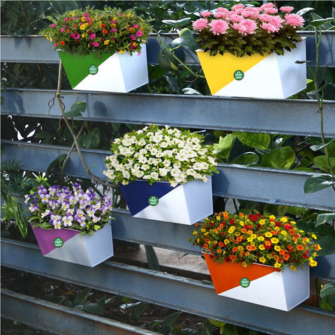 DECORATIVE/CONTEMPORARY PLANT POTS - Twin Colored Diagonal Balcony Railing Garden Flower Pots/Planters (Yellow, Pink, Orange, Green and Blue) - Set of 5