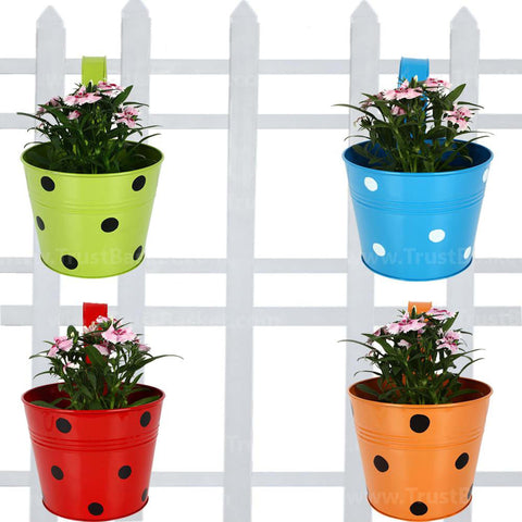 Best Metal Planters in India - Railing Planters Round Dotted (Blue, Orange, Red & Green) - Set of 4