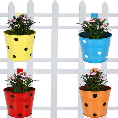 SMALL POTS AND PLANTERS ONLINE - Single Railing Planter (Set of 4) - Red, Yellow, Blue & Orange