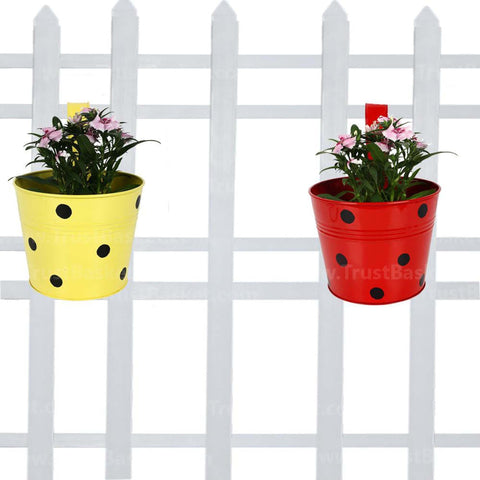DECORATIVE/CONTEMPORARY PLANT POTS - Single Railing Planter (Set of 2) - Red & Yellow