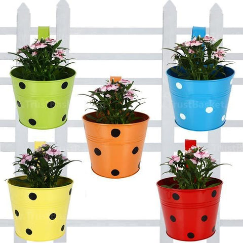 Dotted Round Balcony Railing Garden Flower Pots/Planters - Set of 5 (Red, Yellow, Green, Orange, Blue)