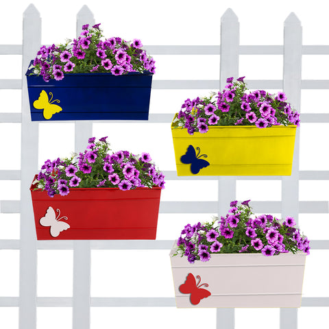Butterfly Rectangular Railing Planters 12 inch (Blue, Yellow, Red, Ivory) - Set of 4