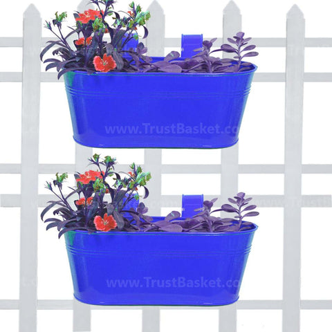 DECORATIVE/CONTEMPORARY PLANT POTS - Oval Railing Planter Dark Blue - Set of 2