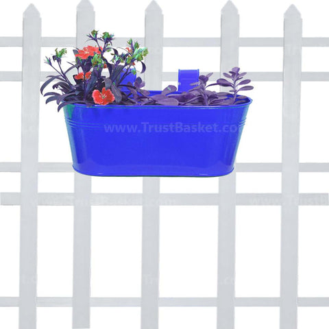 Best Indoor Plant Pots Online - Oval railing planter-Dark Blue