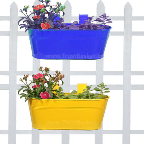 DECORATIVE/CONTEMPORARY PLANT POTS - Oval Railing Planter Yellow and Dark Blue - Set of 2