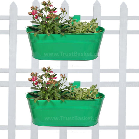 Best Indoor Plant Pots Online - Oval Railing Planter Dark Green - Set of 2