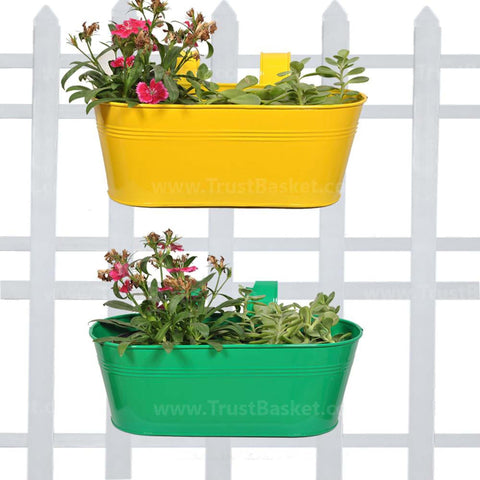 DECORATIVE/CONTEMPORARY PLANT POTS - Oval Railing Planter Yellow and Dark Green - Set of 2