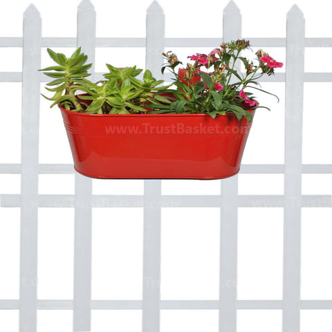 Best Indoor Plant Pots Online - Oval railing planter - Red