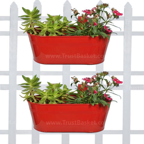 DECORATIVE/CONTEMPORARY PLANT POTS - Oval Railing Planter Red - Set of 2