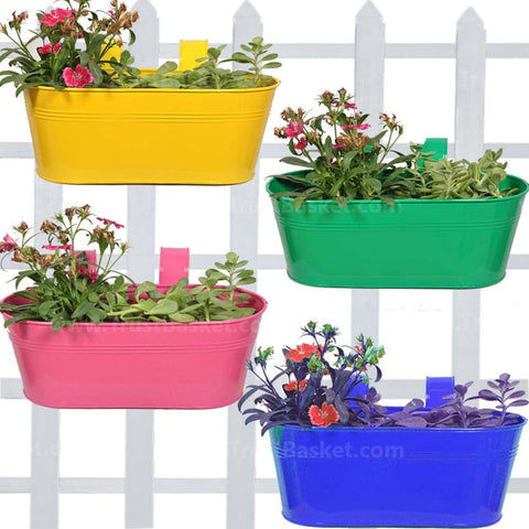 Best Balcony Railing Planters Pots in India - Oval railing planters (Magenta, Blue, Yellow and Green) - Set of 4