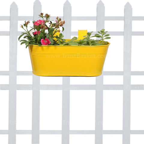DECORATIVE/CONTEMPORARY PLANT POTS - Oval railing planter -yellow