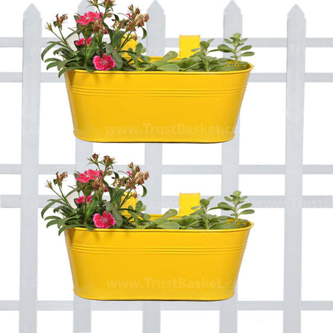 DECORATIVE/CONTEMPORARY PLANT POTS - Oval Railing Planter Yellow - Set of 2