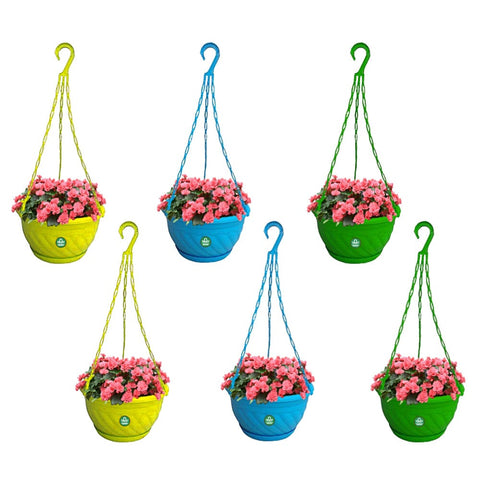 Colourful Plastic Hanging Basket with Bottom Saucer - Set of 6 (Blue, Green, Yellow)