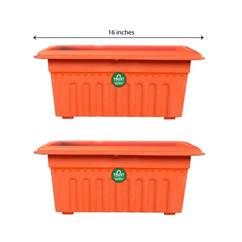 Set of 2 Rectangular UV treated, Heavy Duty Plastic Planter (16 inch)