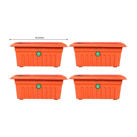 Set of 4 Rectangular UV treated,Heavy Duty Plastic Planter (16 inch)