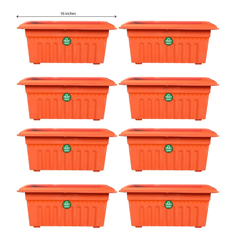 Set of 8 Rectangular UV treated,Heavy Duty Plastic Planter (16 inch)