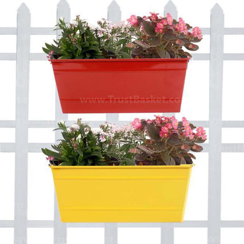 DECORATIVE/CONTEMPORARY PLANT POTS - Rectangular Railing Planter - Red and Yellow (12 Inch) - Set of 2