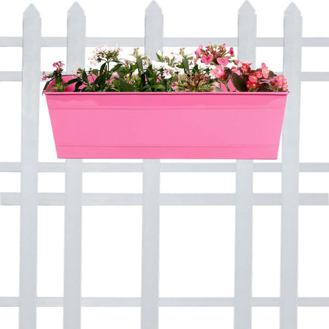 DECORATIVE/CONTEMPORARY PLANT POTS - Rectangular Railing Planter - Magenta (18 Inch)