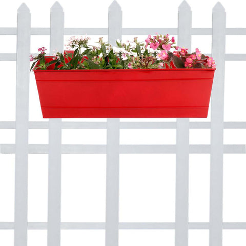Rectangular Planters Online India - Rectangular Railing Planter - Red (18 Inch)