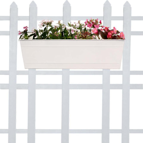 Best Indoor Plant Pots Online - TrustBasket Rectangular Railing Planter - Ivory (18 Inch)