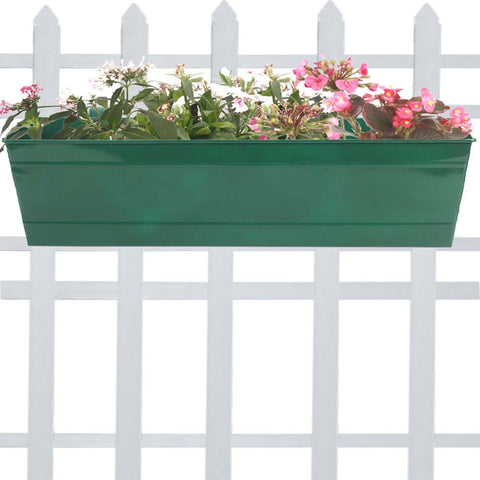 Rectangular Planters Online India - Rectangular Railing Planter -Green (23 Inch)