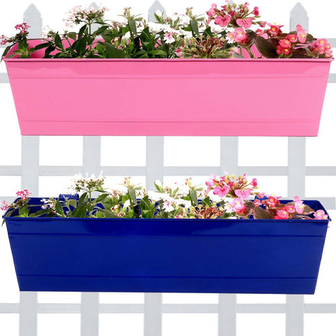 Rectangular Planters Online India - Rectangular Railing Planter -Magenta and Blue (23 Inch) - Set Of 2