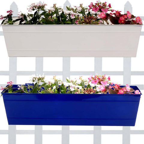 Rectangular Planters Online India - Rectangular Railing Planter - Ivory and Blue (23 Inch) - Set of 2