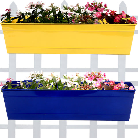 Set Of 2- Rectangular Railing Planter -Yellow and Blue (23 Inch) - Trust Basket  - 1