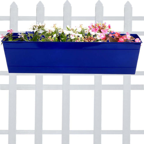 Rectangular Planters Online India - Rectangular Railing Planter -Blue (23 Inch)