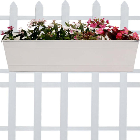 Rectangular Planters Online India - TrustBasket Rectangular Railing Planter -Ivory (23 Inch)