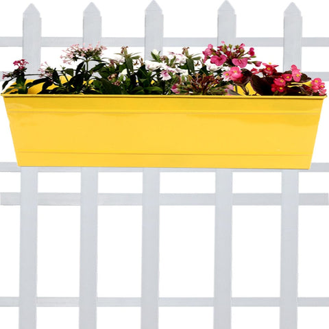 DECORATIVE/CONTEMPORARY PLANT POTS - Rectangular Railing Planter -yellow (23 Inch)
