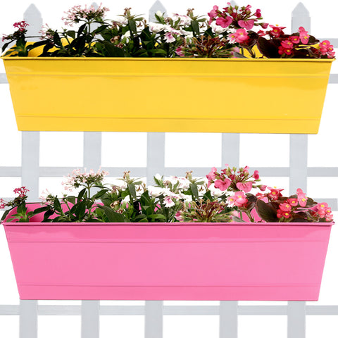 DECORATIVE/CONTEMPORARY PLANT POTS - Rectangular Railing Planter -Yellow and Magenta (23 Inch) - Set of 2