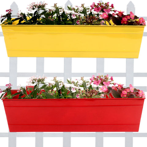 Set Of 2- Rectangular Railing Planter -Yellow and Red (23 Inch) - Trust Basket  - 1