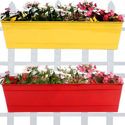 DECORATIVE/CONTEMPORARY PLANT POTS - Rectangular Railing Planter - Yellow and Red (23 Inch) - Set of 2