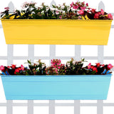 Set Of 2- Rectangular Railing Planter -Yellow and Teal (23 Inch) - Trust Basket  - 1