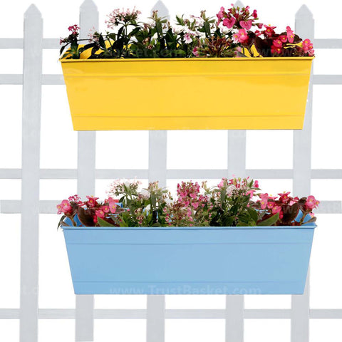 Valentines Day Offer - Buy 2 Get 20% Off - Rectangular Railing Planter Yellow and Teal (18 Inch) - Set of 2