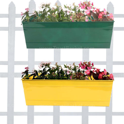 DECORATIVE/CONTEMPORARY PLANT POTS - Rectangular Railing Planters Green and Yellow (18 Inch) - Set of 2