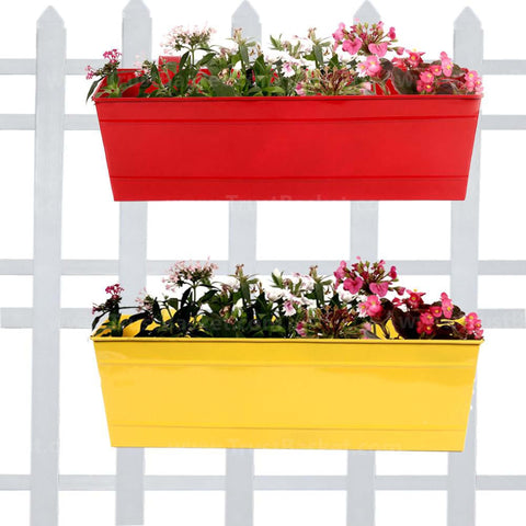 DECORATIVE/CONTEMPORARY PLANT POTS - Rectangular Railing Planters Red and Yellow (18 Inch) - Set of 2