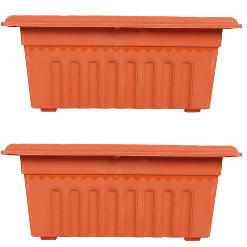 Set of 2 Rectangular UV treated, Heavy Duty Plastic Planter (16 inch) - Trust Basket  - 1