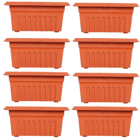 Set of 8 Rectangular UV treated,Heavy Duty Plastic Planter (16 inch) - Trust Basket  - 1