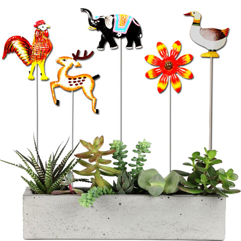 Set of  5 Garden Sticks - Rooster, Deer,Elephant,Yellow flower,Duck - Trust Basket
