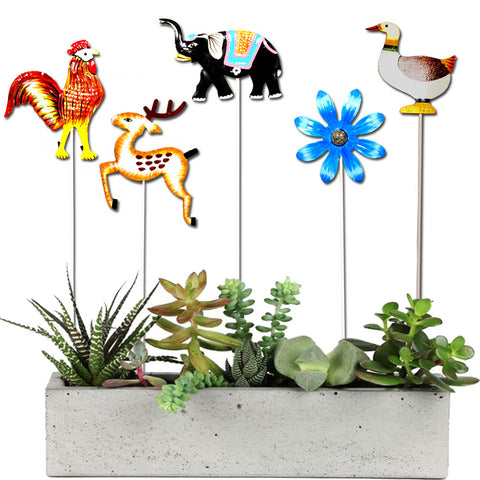 Set of  5 Garden Sticks - Rooster, Deer,Elephant,Blue flower,Duck - Trust Basket  - 1