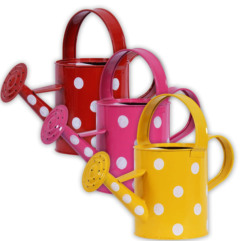 Garden Accessories Online - TrustBasket Set of 3 Designer Watering Can Pink,Yellow,Red (2 Ltr Capacity)