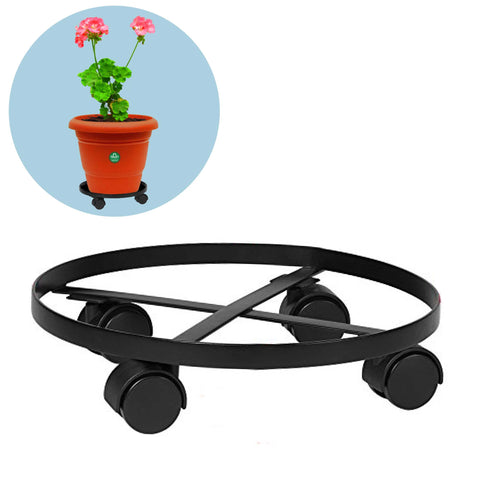 Garden Accessories Online - TrustBasket Wrought Iron Wheels Pot Stand