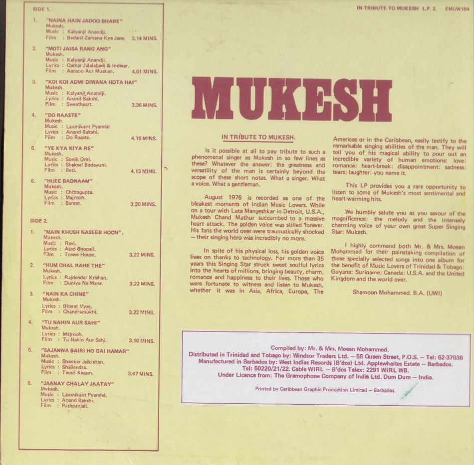 In tribute to Mukesh Bollywood Vinyl LP