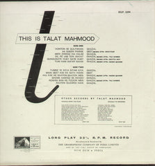 This is Talat Mahmood - First Press - Bollywood Vinyl LP