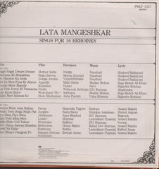 Lata Mangeshkar - Sings for 16 Heroines Indian Vinyl LP