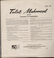 Ghazals to remember - Talat Mahmood Indian Vinyl LP