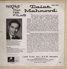 Talat Mahmood - Ghazals Indian Vinyl LP